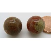 Perles semi-percées rondes 12mm Pierre Marron Vert par 2 pcs