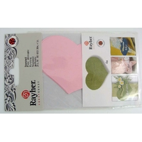 Découpe Papier Home déco Coeur Rose 80mm avec languette Rayher par 4 pcs