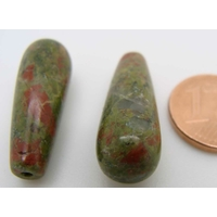 Perles semi-percées Gouttes 24mm Pierre Vert et Marron par 2 pcs