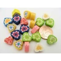 Perles FIMO 10mm COEUR MIX couleurs par 20 pcs