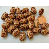 Perles Bois TONNEAUX 11x8mm fond marron motifs roues par 50 pcs