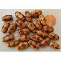 Perles Bois Olives marron motifs cordes 15x7mm par 50 pcs