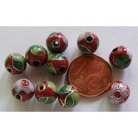 Perles Rondes Cloisonnés 8mm ROUGE mod2 par 10 pcs