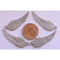 Breloques Métal Argenté AILES Oiseaux anges plumes 30mm par 10 pcs