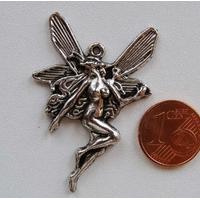 Breloques Pendentifs Métal Argenté FEE Papillon 43mm par 5 pcs