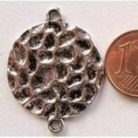 Perles Métal argenté vieilli CONNECTEUR 2 rangs ROND 24mm par 10 pcs