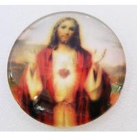Cabochon verre rond 25mm Sacré Coeur de Jésus par 1 pc