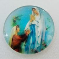 Cabochon verre rond 25mm Marie Notre Dame de Lourdes avec Bernadette par 1 pc