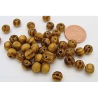 Perles Bois MARRON STRIE Rondes 6mm par 100 pcs