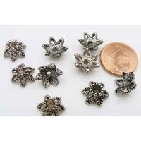 Coupelles Métal argenté vieilli Fleurs 10mm par 20 pcs