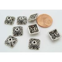 Perles Métal argenté vieilli COUPELLES Carré 10mm par 10 pcs