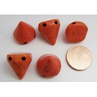 PERLES 2 trous Spikes Cones Pointes 14mm pierre TURQUOISE Synthétique ORANGE par 5 pcs