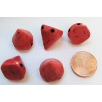 PERLES 2 trous Spikes Cones Pointes 14mm pierre TURQUOISE Synthétique ROUGE par 5 pcs