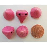 PERLES 2 trous Spikes Cones Pointes 14mm pierre TURQUOISE Synthétique ROSE par 5 pcs