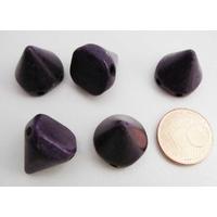 PERLES 2 trous Spikes Cones Pointes 14mm pierre TURQUOISE Synthétique VIOLET par 5 pcs