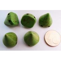 PERLES 2 trous Spikes Cones Pointes 14mm pierre TURQUOISE Synthétique VERT par 5 pcs