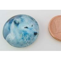 Cabochon verre rond 20mm Tête de Loup blanc par 1 pc