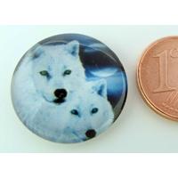 Cabochon verre rond 20mm 2 Têtes de Loup blanc par 1 pc