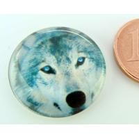 Cabochon verre rond 20mm Tête de Loup gris par 1 pc