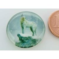 Cabochon verre rond 20mm 1 Loup blanc hurlant par 1 pc
