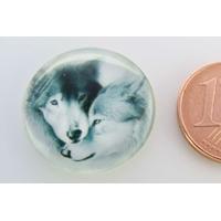 Cabochon verre rond 20mm Couple de Loups par 1 pc
