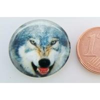 Cabochon verre rond 20mm Tête de Loup gris et blanc par 1 pc