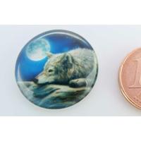 Cabochon verre rond 20mm Loup couché sous la lune par 1 pc