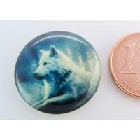Cabochon verre rond 20mm Loup couché par 1 pc