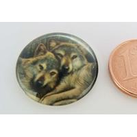 Cabochon verre rond 20mm Couple de loups gris par 1 pc