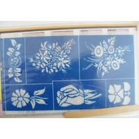 Pochoir 6 motifs Fleurs planche 20x12cm pour dépolir le verre