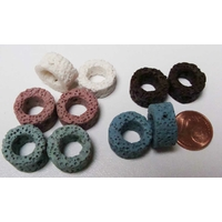 Perles Donut pierre de lave 15mm Mix couleurs par 10 pcs