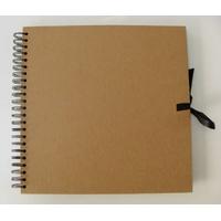 Album scrapbook carnet spiralé 40 feuilles 30x30cm Marron Kraft