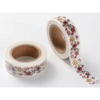 Ruban Masking Tape Fleurs Rouges 15mm x 10m