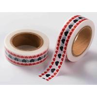 Ruban Masking Tape Coeurs Rouge et Noir 15mm x 10m
