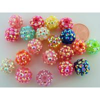 Perles Acrylique 12mm aspect recouvert de strass MIX couleurs par 20 pcs