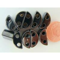 Perles Séparateurs 2 trous Pierre HEMATITE magnétique 13mm par 10 pcs