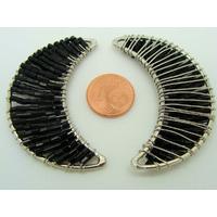 Décoration Lune en rocaille noire et fil métal 51mm par 1 pc