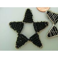 Décoration Etoile en rocaille noire et fil métal 45mm par 1 pc