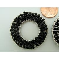 Décoration Rond en rocaille noire et fil métal 34mm par 2 pcs