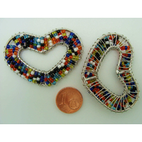 Décoration Coeur en rocaille multicolore et fil métal 48mm par 1 pc
