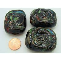 Grande Perle PORCELAINE Rectangle motif spirale fond noir par 1 pc