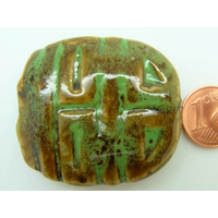 Grande Perle PORCELAINE rectangle plat motifs traits 40mm marron vert par 1 pc