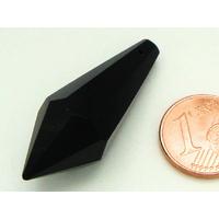 Pendentif  verre POINTE facette 37mm NOIR par 1 pc