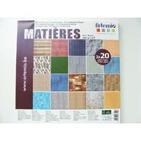 Bloc 40 feuilles papier 30x30cm Matières 20 motifs différents ARTEMIO