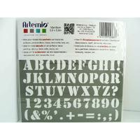 Pochoir Home Deco Alphabet Lettres majuscules Chiffres et ponctuation GRAS  Planche 10x15cm Artemio