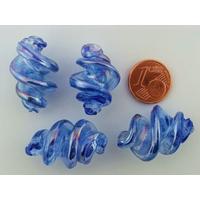 Perles VIS verre Lampwork 28x17mm BLEU FONCE TRANSPARENT par 2 pcs