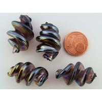 Perles VIS verre Lampwork 28x17mm VIOLET FONCE par 2 pcs