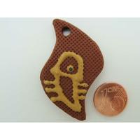 Pendentif en terre cuite Ethnique poisson marron 48x25mm par 1 pc