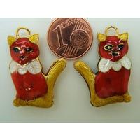 Pendentif Cloisonné CHAT 27mm Rouge et Doré par 1 pc