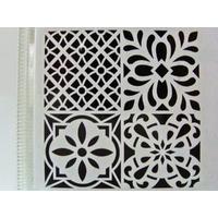 Pochoir Home Deco 4 motifs mix style Carreaux de ciment Planche 30x30cm Artemio